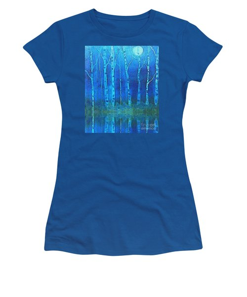 Women's T-Shirt (Junior Cut) featuring the painting Birches In Moonlight by Holly Martinson