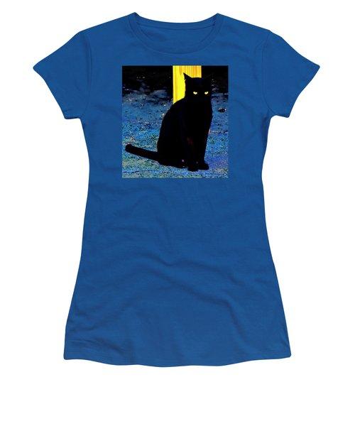 Black Cat Yellow Eyes Women's T-Shirt (Junior Cut) by Gina O'Brien
