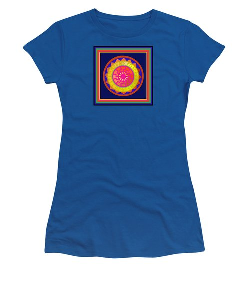 Black Sun Mandala Rune Calendar Women's T-Shirt (Athletic Fit)