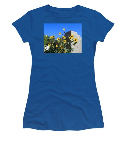 Women's T-Shirt featuring the photograph Blackeyed Susans And Adobe by Joseph R Luciano
