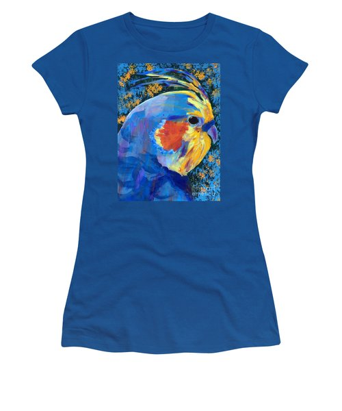 Women's T-Shirt (Junior Cut) featuring the painting Blue Cockatiel by Donald J Ryker III
