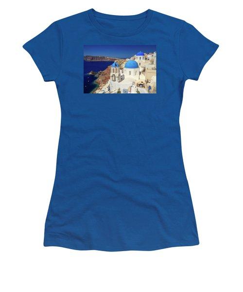 Blue Domed Churches Women's T-Shirt (Junior Cut) by Emmanuel Panagiotakis