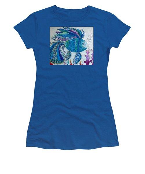 Women's T-Shirt (Junior Cut) featuring the drawing Blue Fish by Megan Walsh
