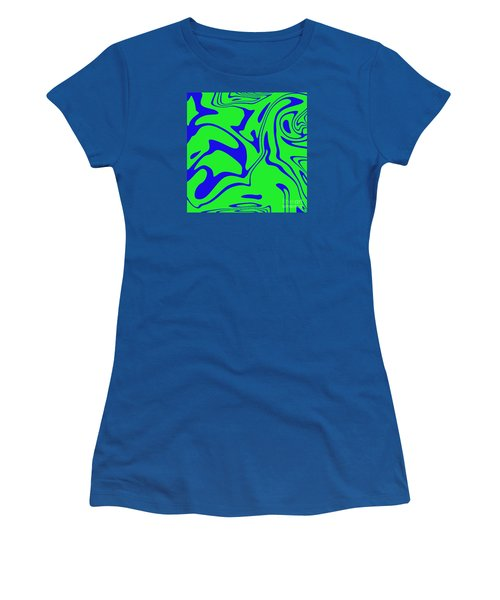 Blue Green Retro Abstract Women's T-Shirt (Athletic Fit)