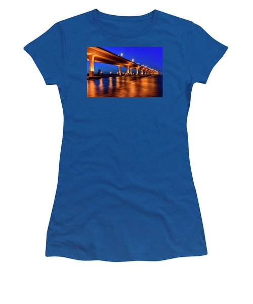 Blue Hour At Roosevelt Bridge In Stuart Florida  Women's T-Shirt