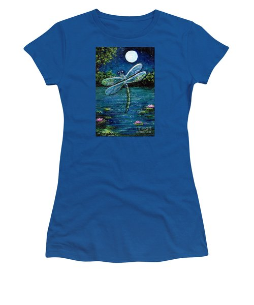 Women's T-Shirt (Junior Cut) featuring the painting Blue Moon Dragonfly by Sandra Estes