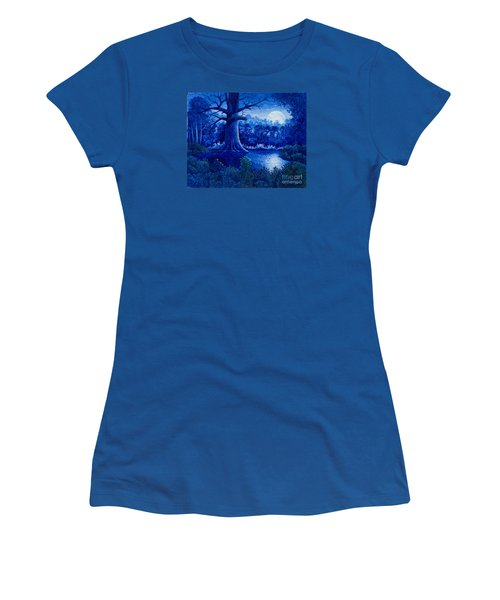 Women's T-Shirt (Junior Cut) featuring the painting Blue Moon by Michael Frank