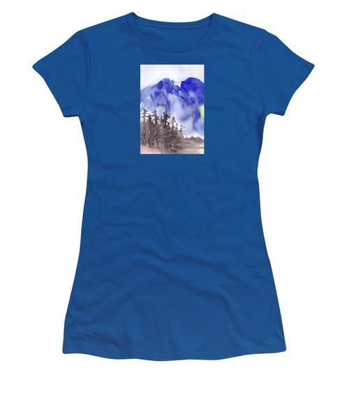 Women's T-Shirt (Junior Cut) featuring the painting Blue Mountains by Yolanda Koh
