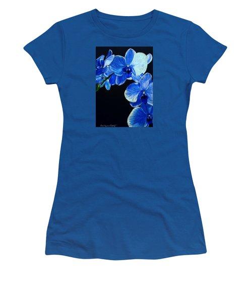 Blue Orchid - Electric-blue Phalaenopsis Women's T-Shirt (Junior Cut) by Anita Putman
