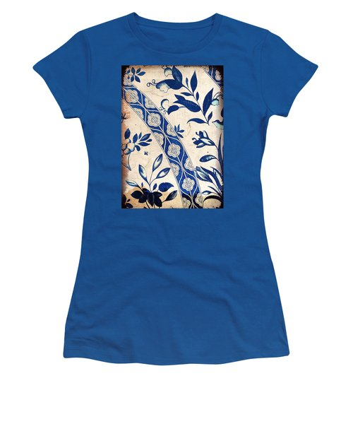 Blue Oriental Vintage Tile 04 Women's T-Shirt (Athletic Fit)