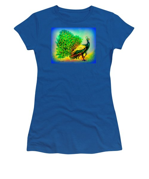 Blue Peacock Women's T-Shirt (Athletic Fit)