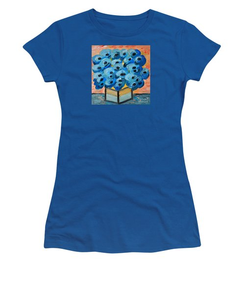 Blue Poppies In Square Vase  Women's T-Shirt (Junior Cut) by Ramona Matei
