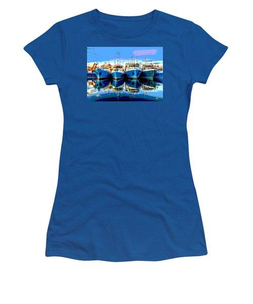 Blue Shrimp Boats Women's T-Shirt (Junior Cut) by Charles Shoup
