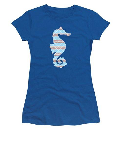 Blue Seahorse Art Women's T-Shirt (Athletic Fit)