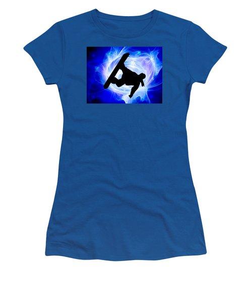 Blue Swirl Snowstorm Women's T-Shirt