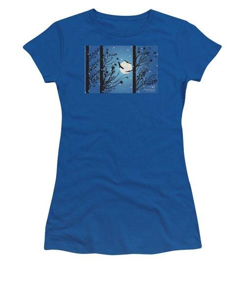 Women's T-Shirt (Junior Cut) featuring the digital art Blue Winter Moon by Kim Prowse