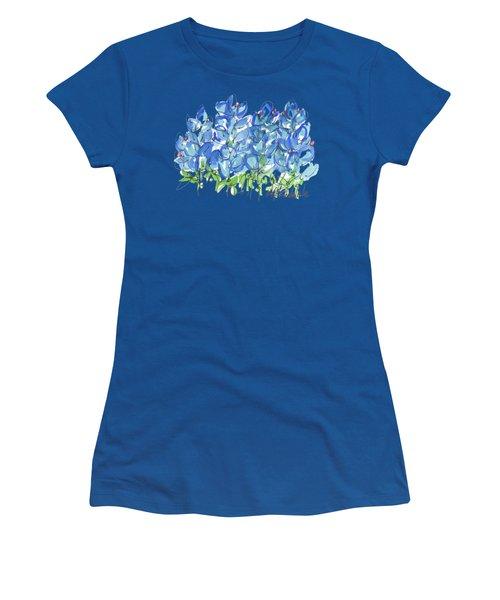 Bluebonnet Dance Watercolor By Kmcelwaine Women's T-Shirt