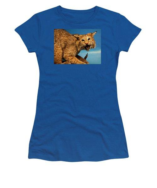 Bobcat On A Branch Women's T-Shirt (Junior Cut) by Chris Flees