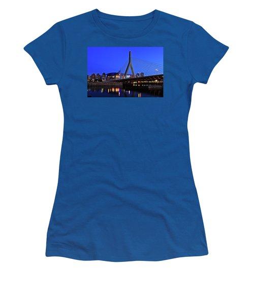 Boston Garden And Zakim Bridge Women's T-Shirt (Junior Cut) by Rick Berk