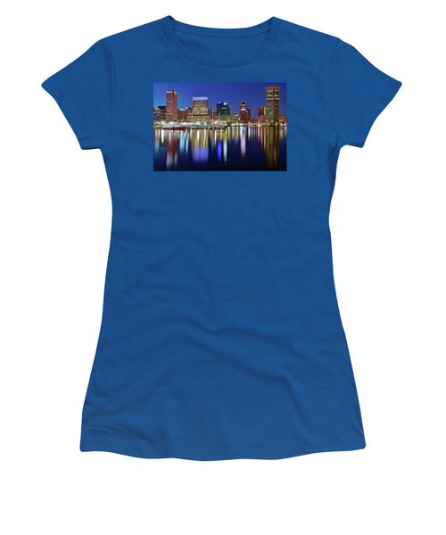 Women's T-Shirt (Junior Cut) featuring the photograph Bright Blue Baltimore Night by Frozen in Time Fine Art Photography