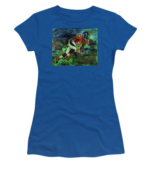 Women's T-Shirt (Junior Cut) featuring the painting Broncos - Orange And Blue Horse Power by Walter Fahmy