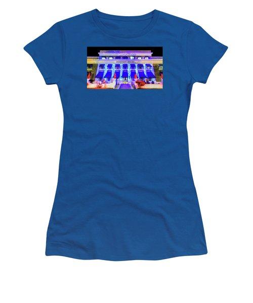 Women's T-Shirt (Junior Cut) featuring the photograph Buckstaff Baths - Christmastime by Stephen Stookey