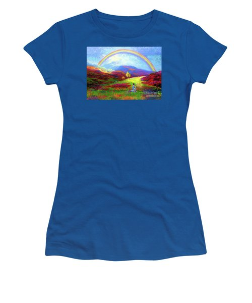 Women's T-Shirt (Junior Cut) featuring the painting Buddha Chakra Rainbow Meditation by Jane Small