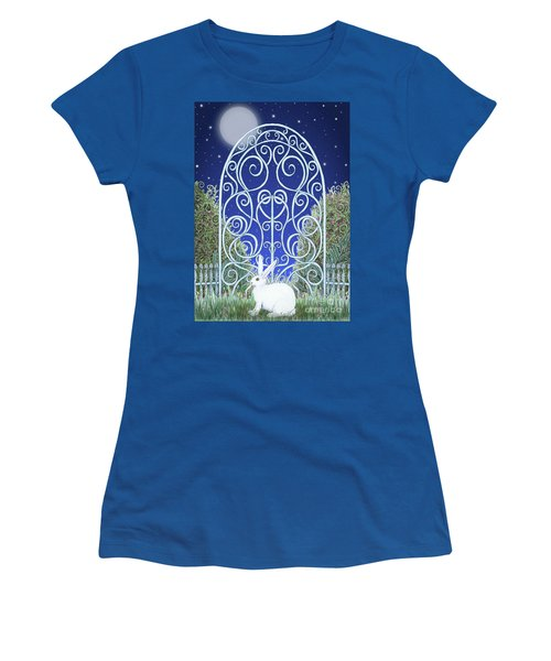 Women's T-Shirt (Athletic Fit) featuring the mixed media Bunny, Gate And Moon by Lise Winne