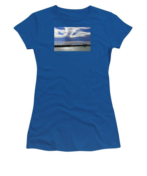 Women's T-Shirt (Athletic Fit) featuring the photograph Busy Day At The Wharf by Nareeta Martin