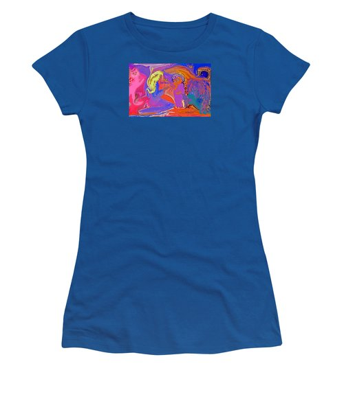 Women's T-Shirt (Junior Cut) featuring the painting  Fun Art But Mom by Sherri  Of Palm Springs