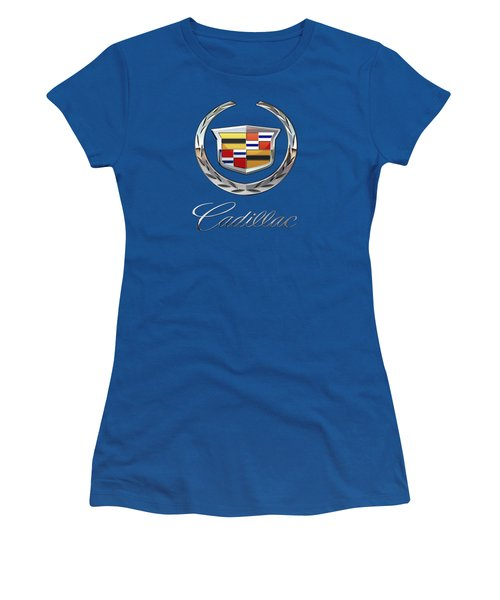 Cadillac 3 D  Badge Special Edition On Blue Women's T-Shirt