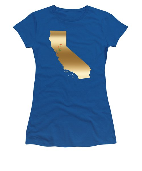 California Gold With State Flower Women's T-Shirt (Athletic Fit)