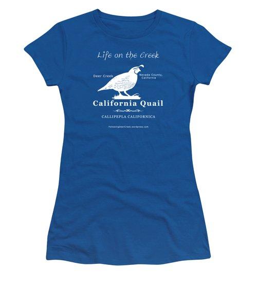 California Quail - White Graphics Women's T-Shirt
