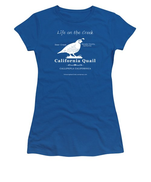 California Quail - White Graphics Women's T-Shirt (Athletic Fit)