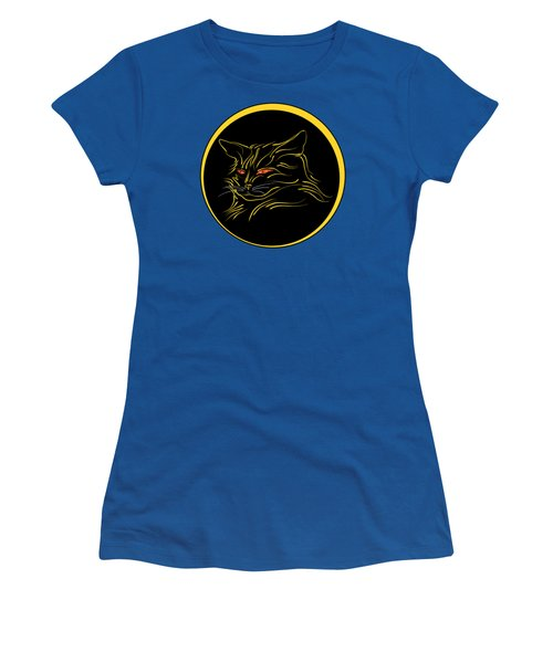 Women's T-Shirt featuring the digital art Calligraphic Black Cat And Moon by MM Anderson