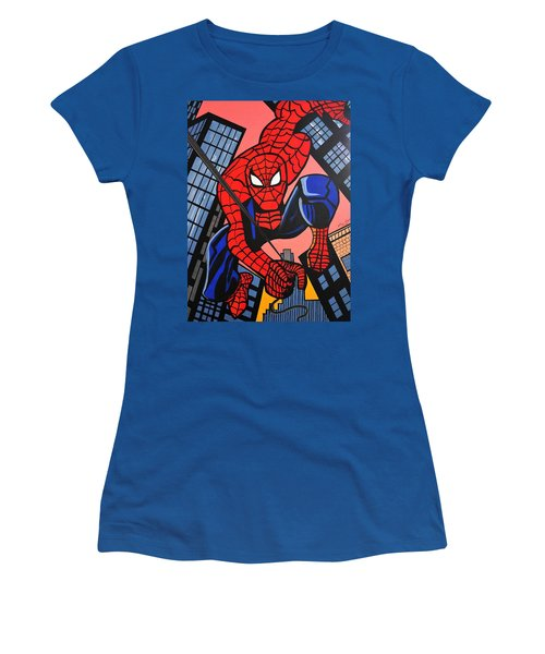 Cartoon Spiderman Women's T-Shirt (Athletic Fit)