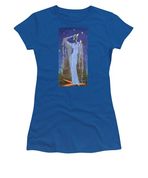 Celestial Bodies -- Fashion Collage Portrait W/ Fabric And Crystals Women's T-Shirt (Athletic Fit)