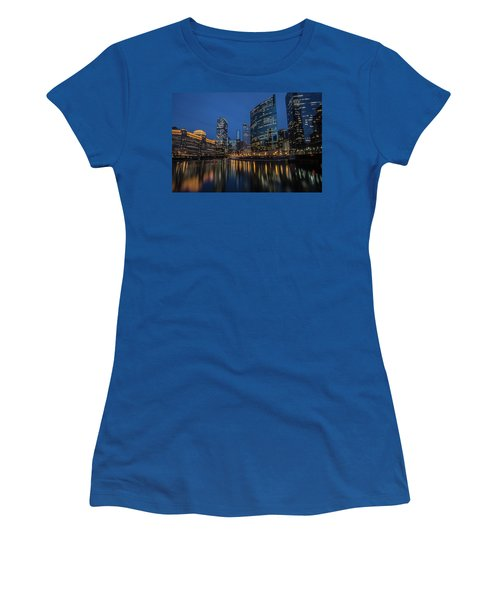 Chicago River Reflections At Dusk  Women's T-Shirt