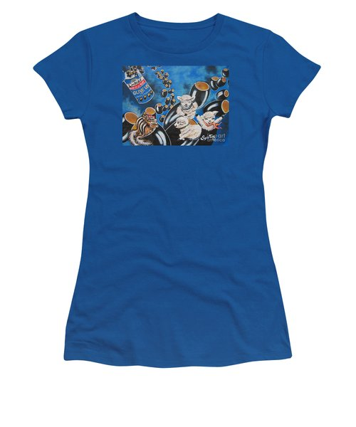 Chip And Dip In Space Olives Women's T-Shirt (Junior Cut) by Sigrid Tune