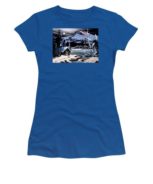 Christmas At The Lake V2 Women's T-Shirt (Junior Cut) by Ron Chambers