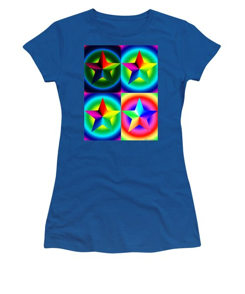 Chromatic Star Quartet With Ring Gradients Women's T-Shirt
