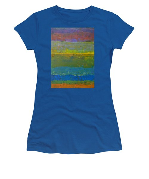 Women's T-Shirt (Junior Cut) featuring the painting Color Collage Five by Michelle Calkins