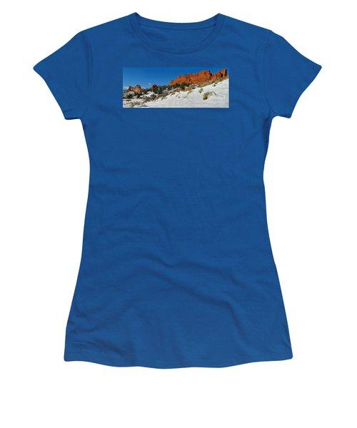 Women's T-Shirt (Junior Cut) featuring the photograph Colorado Winter Red Rock Garden by Adam Jewell