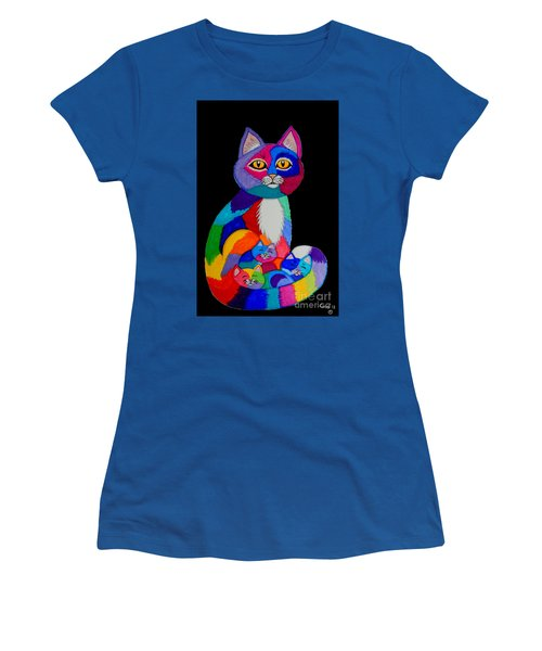 Colorful Cats And Kittens Women's T-Shirt (Junior Cut) by Nick Gustafson