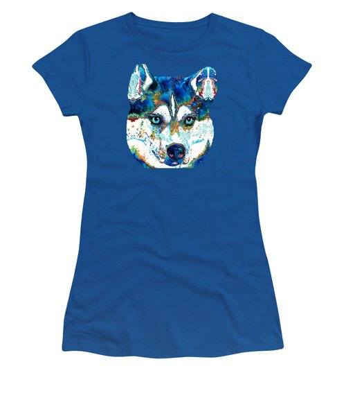 Colorful Husky Dog Art By Sharon Cummings Women's T-Shirt
