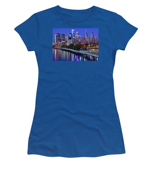 Women's T-Shirt (Junior Cut) featuring the photograph Colorful Philly Night Lights by Frozen in Time Fine Art Photography