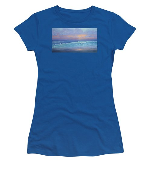 Cape Cod Colorful Sunset Seascape Beach Painting With Wave Women's T-Shirt