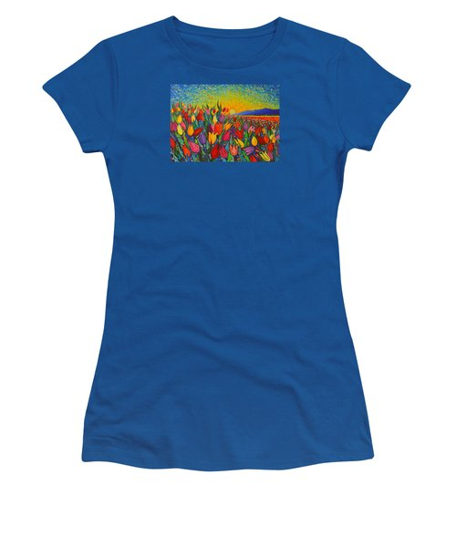 Colorful Tulips Field Sunrise - Abstract Impressionist Palette Knife Painting By Ana Maria Edulescu Women's T-Shirt