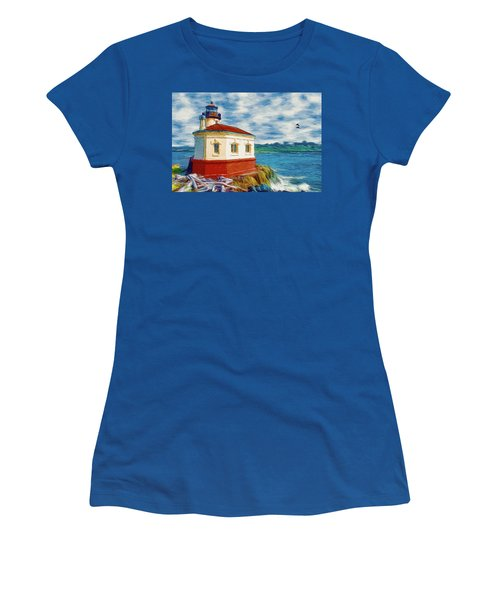 Women's T-Shirt (Junior Cut) featuring the painting Coquille River Lighthouse by Jeff Kolker