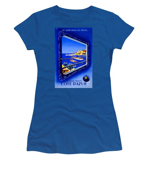 Cote D'azur Vintage Poster Restored Women's T-Shirt (Athletic Fit)